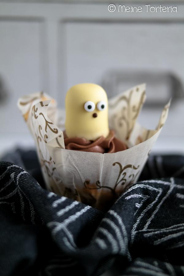 Halloween-Bananen-Cupcakes mit Schokocreme